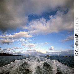 accélérez bateau, nord, norvège, mer