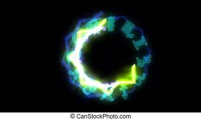 accabler, puissance, zodiaque, autour de, brûler, magie, 12,...