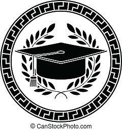 accademico, cap., quadrato, stampino