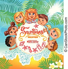 accampamento estate, bambini, bandiera, carino