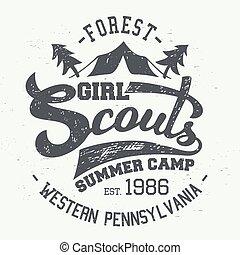 accampamento estate, tipografico, t-shirt, disegno, esploratori, ragazza
