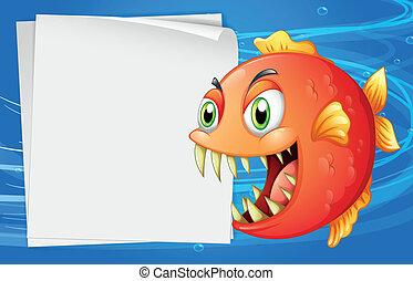 accanto, carta, vuoto, mare, sotto, piranha