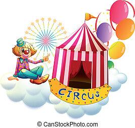 accanto, circo, palloni, pagliaccio, tenda