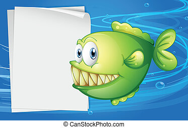 accanto, verde, cartello, vuoto, piranha