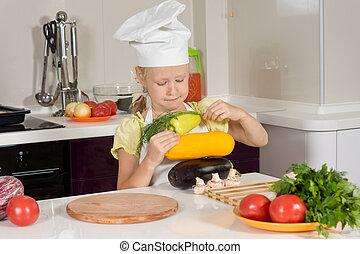 accatastamento, chef, serio, verdura, fresco, capretto