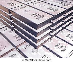 accatastare, di, platino, barre
