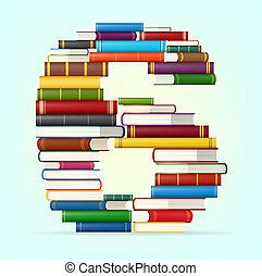 accatastare, multi, libri, colorato, numeri