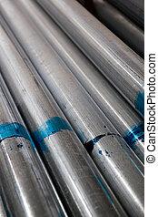 accatastato, acciaio, tubo