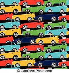 accatastato, automobili, seamless, strada, modello, da corsa