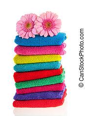 accatastato, colorito, asciugamani