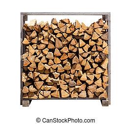 accatastato, legna ardere, isolato, bianco
