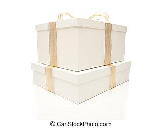 accatastato, regalo, oro, isolato, scatole, nastro bianco