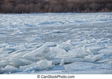accatastato, shoreline, blocchi, ghiaccio