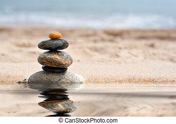 accatastato, zen, riflessione, pietre