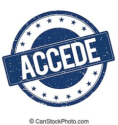 ACCEDE stamp sign text word logo blue.