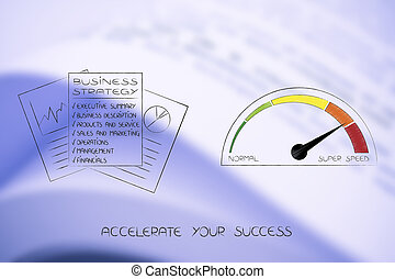 business strategy next to speedometer going from normal to super speed