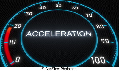 Acceleration futuristic meter or indicator. Conceptual 3D...
