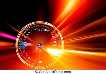 acceleration, hastighetsmätare, på, natt, väg