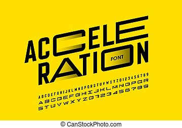 Acceleration style font design, alphabet letters and numbers, vector illustration
