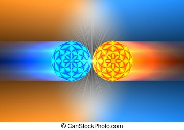 Artist conception of antimatter collision.
