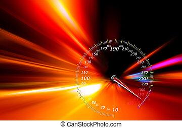 accelerazione, velocità, movimento, su, notte, strada