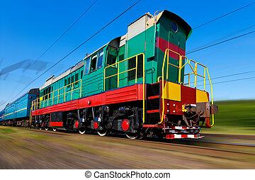accelerer højeste, diesel, tog