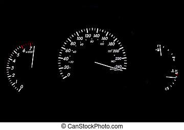 accelerera högt, bil, mätare, röja, isolerat, på, svart