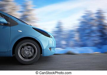 accelerera högt, bil, på, a, bakgrund, vinter landskap
