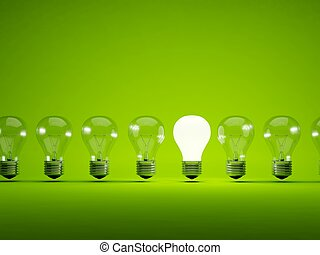 Luce Simbolo Sfondo Verde Bulbo