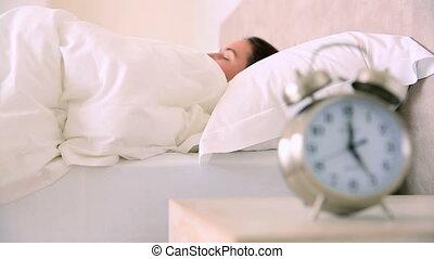 accentato, brunetta, svegliare, tardi