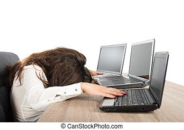 accentato, donna d'affari, dovuto, a, essere sovraccaricato di lavoro