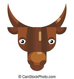 accentato, isolato, segno, icona, toro, mucca, faccia, emoji...