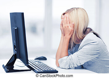 accentué, femme ordinateur