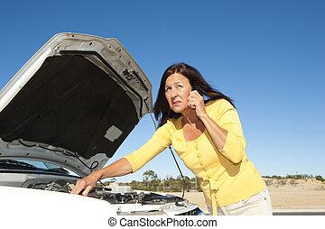 accentué, femme, voiture, panne