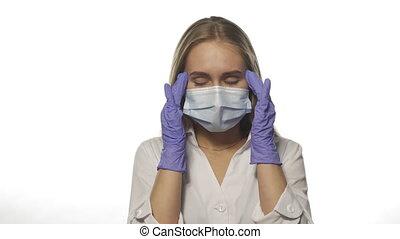 accentué, infirmière, masque