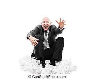accentué, main aidant, fatigué, ou, bruyant, faire gestes, cris, homme affaires, crier