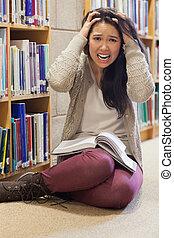 accentué, plancher, étudiant, bibliothèque, séance