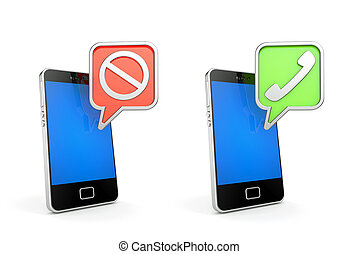 Accept and reject. Mobile phones with signs. 3d illustration