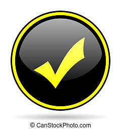 accept black and yellow glossy internet icon