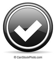 accept black circle glossy web icon