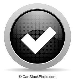 accept black circle web glossy icon