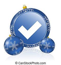 Accept blue christmas balls icon