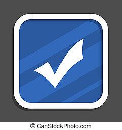 Accept blue flat design square web icon