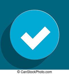 accept blue flat web icon