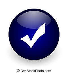 Accept blue glossy ball web icon on white background. Round 3d render button.