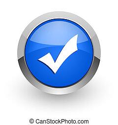 accept blue glossy web icon