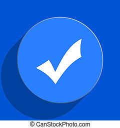 accept blue web flat icon