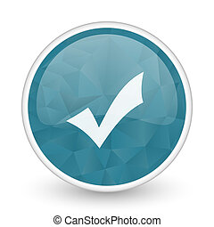 Accept brillant crystal design round blue web icon.