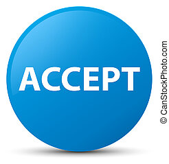 Accept cyan blue round button