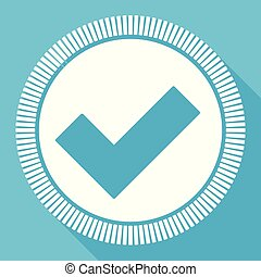 Accept flat vector icon, vote check square blue web button
